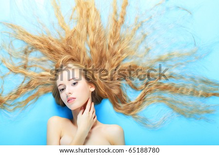 Portrait of a beautiful  professional model. Theme: healthcare, beauty, fashion - stock photo