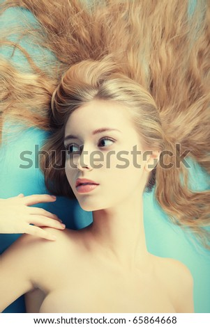 Portrait of a beautiful  professional model. Theme: healthcare, beauty, fashion - stock photo