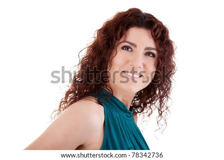 Portrait of a beautiful redhead woman smiling. Studio shot, over white background. - stock photo