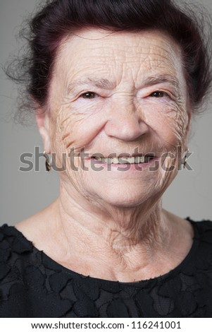 Portrait of a beautiful retired happy senior woman.