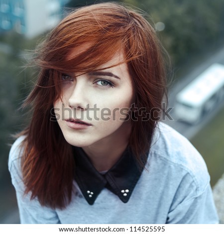 portrait of a beautiful sad girl closeup - stock photo