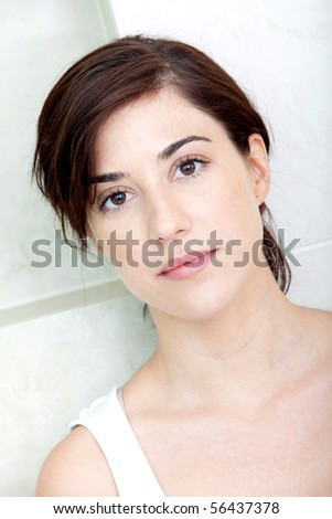 Portrait of a beautiful serious woman - beauty concepts - stock photo
