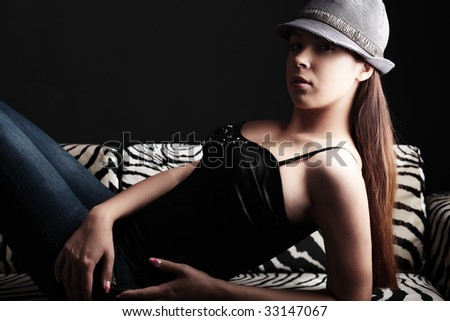 Portrait of a beautiful sexual female model. Beauty, fashion.