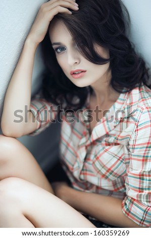 portrait of a beautiful sexy girl in studio - stock photo