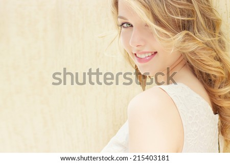 portrait of a beautiful sexy girl with large plump lips with white hair and a white full long finger - stock photo