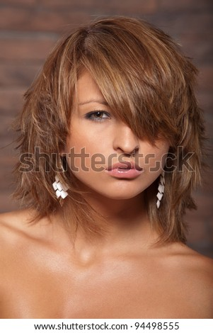 portrait of a beautiful, sexy young woman - stock photo