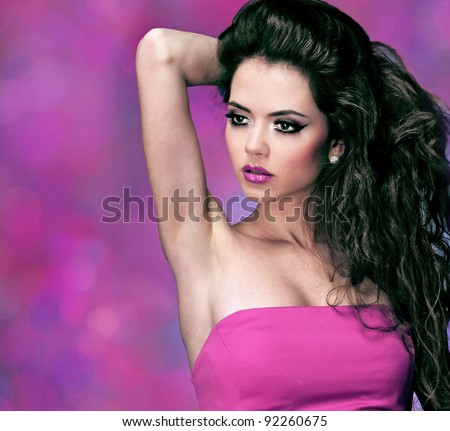 Portrait of a beautiful sexy young woman, skin care - stock photo