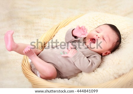 portrait of a beautiful sleeping baby - stock photo