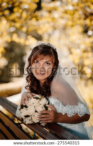Portrait of a beautiful smiling bride posing in her wedding day.