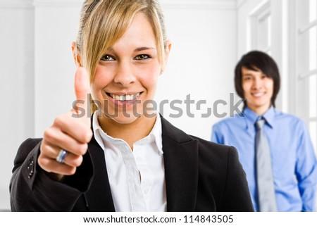 Portrait of a beautiful smiling businesswoman - stock photo