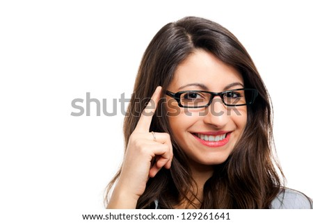 Portrait of a beautiful smiling businesswoman holding her eyeglasses. Isolated on white