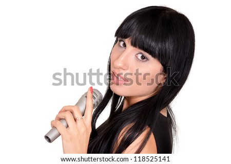 portrait of a beautiful sweet girl singing on a white background - stock photo