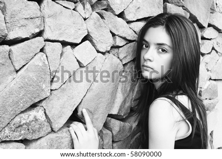 Portrait of a beautiful teen - stock photo