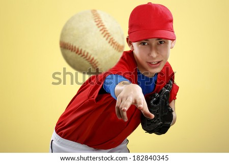 portrait of a beautiful teen baseball player  on colorful background - stock photo