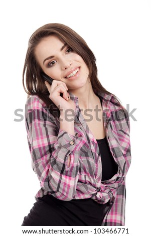 portrait of a beautiful, teen girl, talking on the phone, isolated on white background