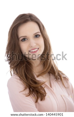 Portrait of a beautiful teenaged woman with a gentle smile looking at the camera, isolated on white