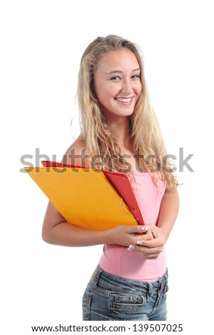 Portrait of a beautiful teenager girl student smiling and posing isolated on a white background - stock photo