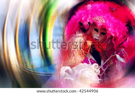 Portrait of a Beautiful Venetian mask on blur background - stock photo