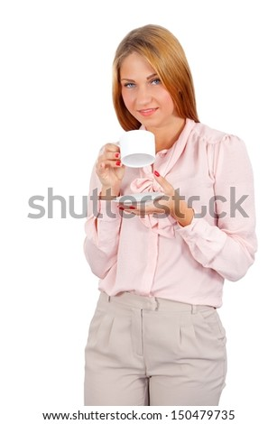 Portrait of a beautiful woman drinking her coffee