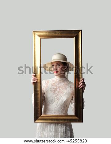 Portrait Beautiful Woman Holding Frame Stock Photo (Edit Now ...