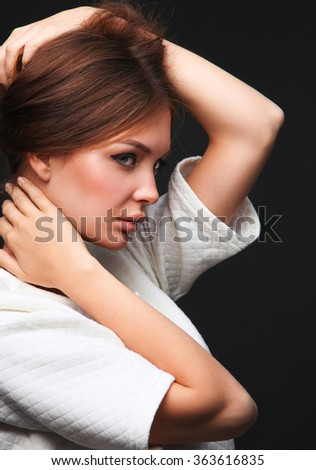Portrait of a beautiful woman , isolated on black background