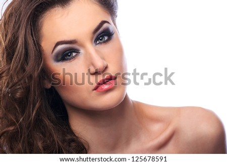 Portrait of a beautiful woman model on white background