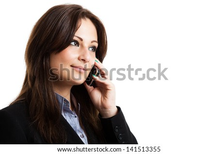 Portrait of a beautiful woman talking on the phone - stock photo