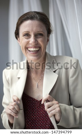 Portrait of a beautiful woman with a nice smile. - stock photo