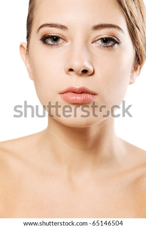 Portrait of a beautiful woman with a perfect skin, white background - stock photo