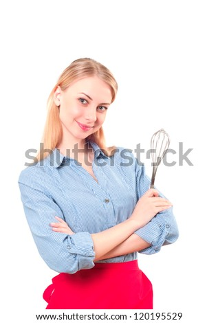 portrait of a beautiful woman with a shaker, ready to cook - stock photo