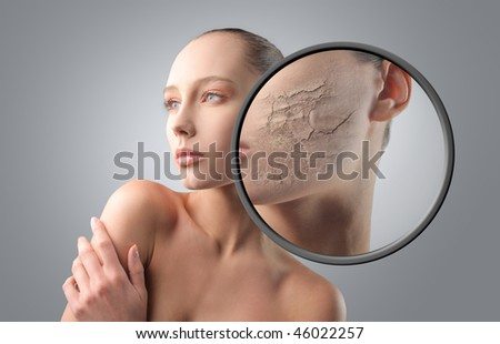 Portrait of a beautiful woman with detail of her poor skin - stock photo