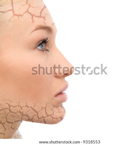 portrait of a beautiful woman with face care concept - stock photo