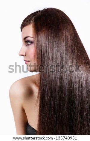 Portrait of a beautiful woman, with long hair