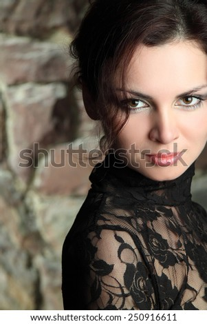 portrait of a beautiful woman with magnificent hair and expressive eyes. sensitive lips. beautiful make-up