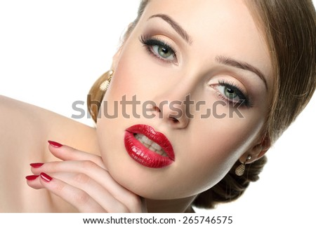 portrait of a beautiful woman with magnificent hair and expressive eyes. sensitive lips. beautiful make-up - stock photo