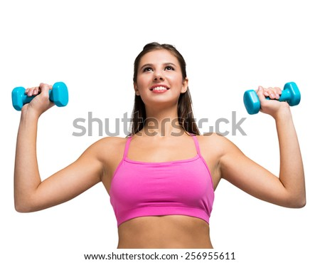 Portrait of a beautiful woman working out