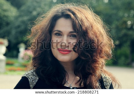 portrait of a beautiful 37 year old woman - stock photo