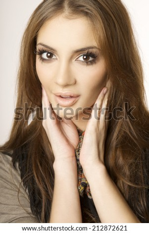 portrait of a beautiful young adult sensuality brunette woman