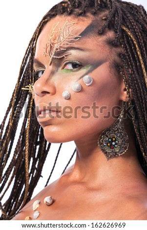 Portrait of a beautiful young african american woman with dreadlocks hair  on a white background