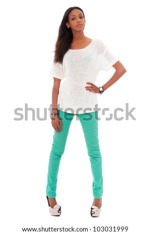 Portrait of a beautiful young black woman, isolated on white background - stock photo