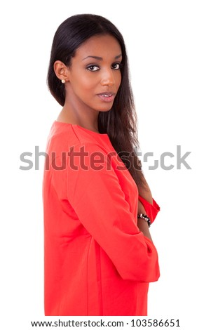 Portrait of a beautiful young black woman with folded arms isolated on white background - stock photo