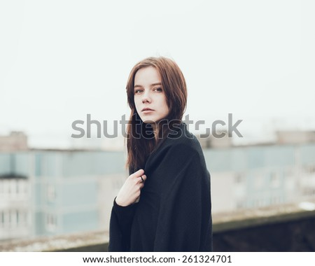 portrait of a beautiful young blonde - stock photo
