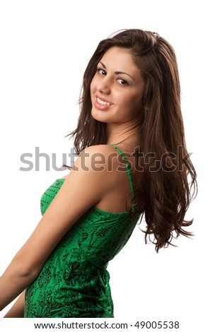 Portrait of a beautiful young brunette lady isolated on white