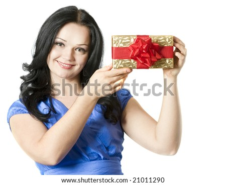 Portrait of a beautiful young brunette woman with gift box - stock photo