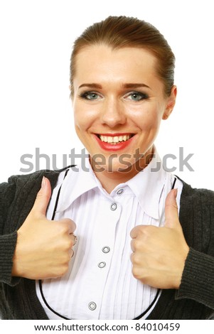 Portrait of a beautiful young business woman showing thumbs up sign with both hands against white background - stock photo
