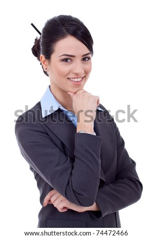 Portrait of a beautiful young business woman thinking against white background - stock photo