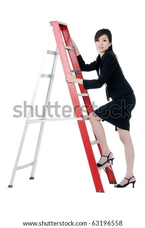 Portrait of a beautiful young businesswoman climbing up a ladder, over white background. - stock photo