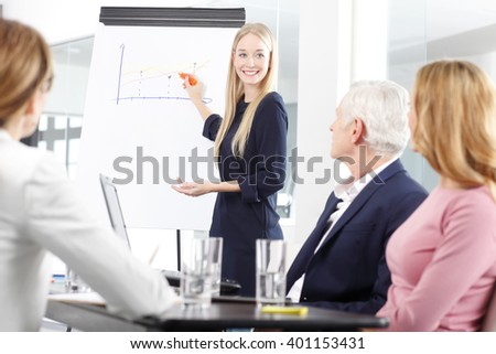 Portrait of a beautiful young businesswoman giving a presentation at business meeting.  - stock photo