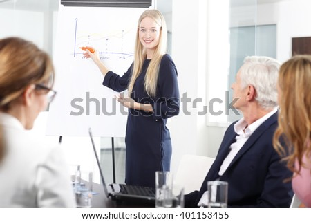 Portrait of a beautiful young businesswoman giving a presentation at business meeting.