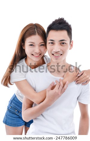 Portrait of a beautiful young couple. - stock photo